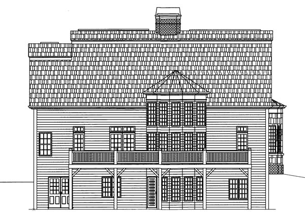 Colonial House Plan 72057 with 4 Beds, 4 Baths, 2 Car Garage Rear Elevation