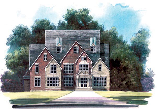 Greek Revival Tudor House Plan 72058 Elevation