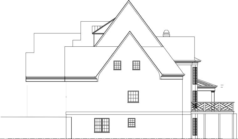 Greek Revival, Tudor House Plan 72058 with 3 Beds, 5 Baths, 3 Car Garage Picture 2