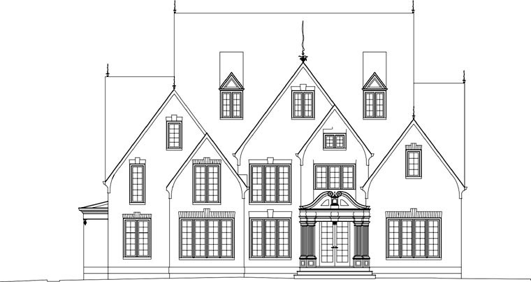 Greek Revival, Tudor House Plan 72058 with 3 Beds, 5 Baths, 3 Car Garage Picture 3