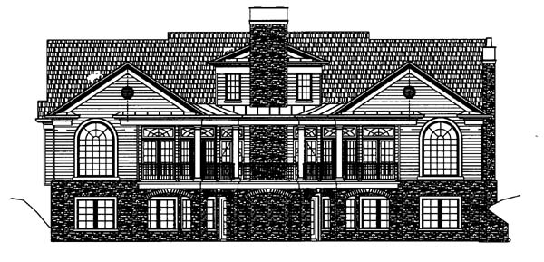 Colonial House Plan 72063 with 3 Beds, 4 Baths, 3 Car Garage Rear Elevation