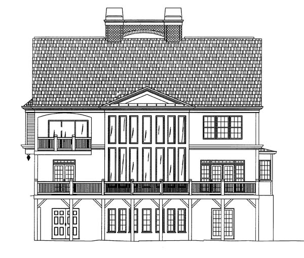 Colonial Greek Revival House Plan 72064 Rear Elevation