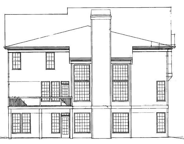 Colonial Rear Elevation of Plan 72065