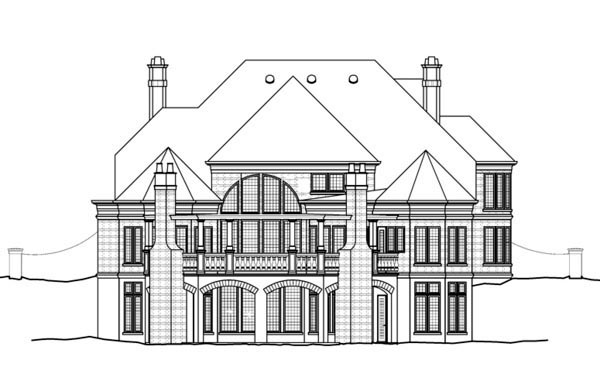 Greek Revival House Plan 72067 with 4 Beds, 3 Baths, 3 Car Garage Rear Elevation