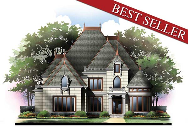 Victorian House Plan 72071 with 4 Beds, 3 Baths, 3 Car Garage Elevation