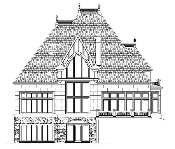 Victorian House Plan 72071 with 4 Beds, 3 Baths, 3 Car Garage Rear Elevation