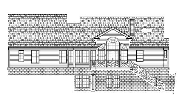 Country, Farmhouse, Ranch House Plan 72074 with 3 Beds, 3 Baths, 2 Car Garage Rear Elevation