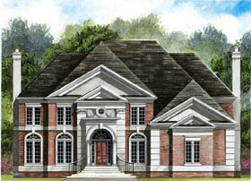 House Plan 72075 | Colonial, European Style House Plan with 2990 Sq Ft, 4 Bed, 3 Bath, 2 Car Garage Elevation