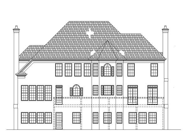 House Plan 72075 | Colonial, European Style House Plan with 2990 Sq Ft, 4 Bed, 3 Bath, 2 Car Garage Rear Elevation
