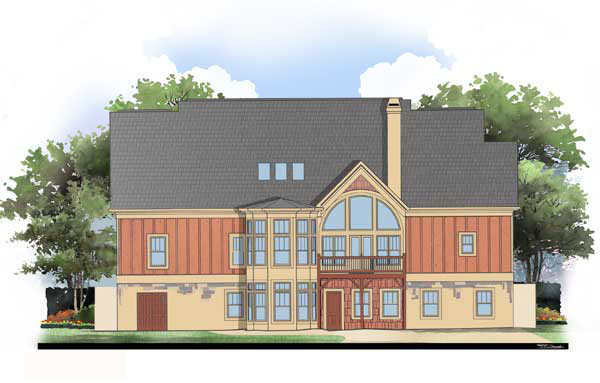 Craftsman House Plan 72076 with 4 Beds, 3 Baths, 2 Car Garage Rear Elevation