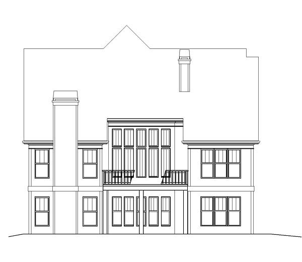 European Tudor House Plan 72078 Rear Elevation
