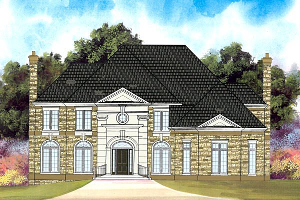 House Plan 72080 | Colonial, European, Greek, Revival Style House Plan with 3324 Sq Ft, 4 Bed, 4 Bath, 2 Car Garage Elevation