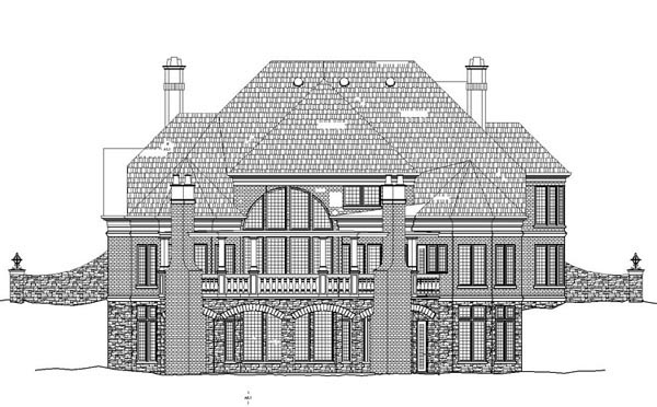 Greek Revival Victorian Rear Elevation of Plan 72083