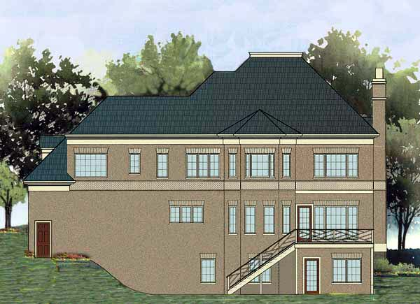 European House Plan 72085 Rear Elevation