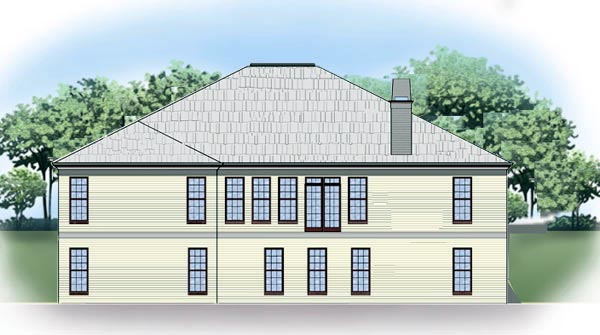 Traditional House Plan 72087 with 3 Beds, 2 Baths, 2 Car Garage Rear Elevation
