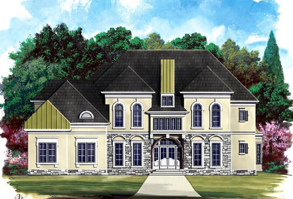 European Greek Revival Elevation of Plan 72088