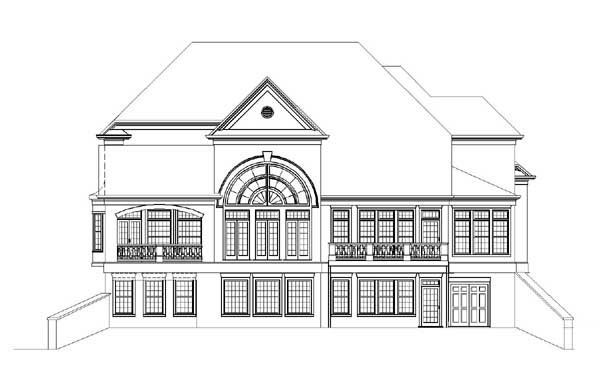European Greek Revival Rear Elevation of Plan 72088