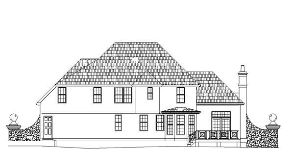 European House Plan 72091 Rear Elevation