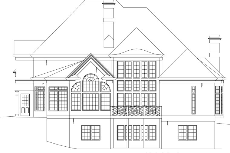 European, GreekRevival, House Plan 72096 with 5 Beds, 5 Baths, 3 Car Garage Rear Elevation