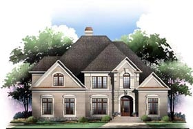 Traditional , Greek Revival House Plan 72098 with 4 Beds, 4 Baths, 3 Car Garage Elevation