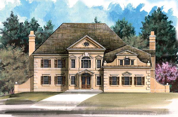European , Greek Revival , Elevation of Plan 72102