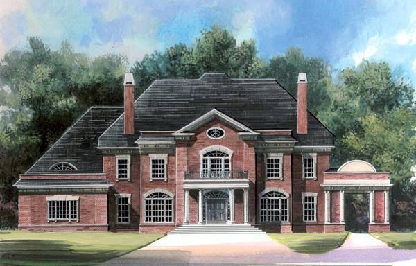 Greek Revival House Plan 72107 with 5 Beds, 7 Baths, 3 Car Garage Elevation