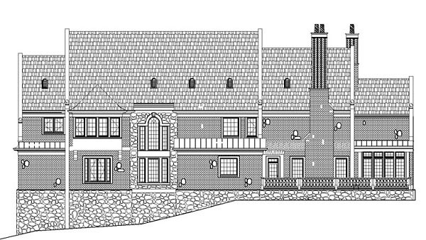 European, Greek Revival House Plan 72114 with 5 Beds, 5 Baths, 4 Car Garage Rear Elevation