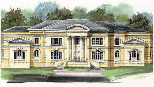 Colonial Greek Revival Elevation of Plan 72118