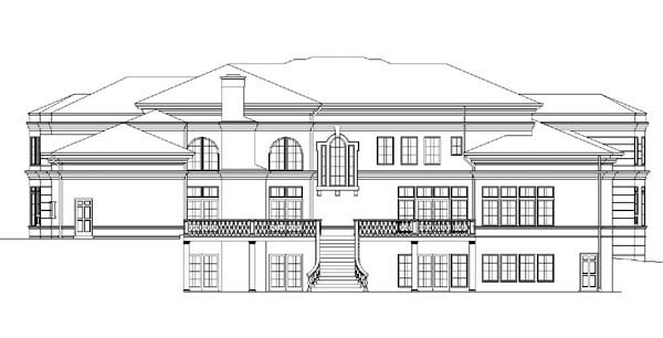 Colonial Greek Revival Rear Elevation of Plan 72118