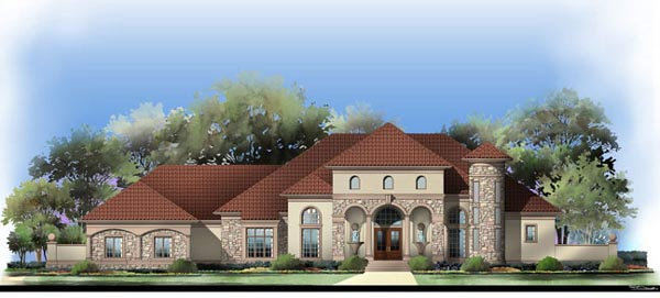 European, Greek Revival House Plan 72122 with 5 Beds, 4 Baths, 4 Car Garage Picture 2