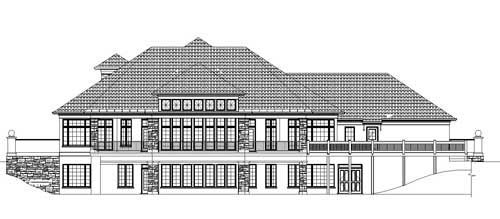 European, Greek Revival House Plan 72122 with 5 Beds, 4 Baths, 4 Car Garage Rear Elevation