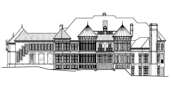 European, Greek Revival House Plan 72128 with 6 Beds, 9 Baths, 5 Car Garage Rear Elevation