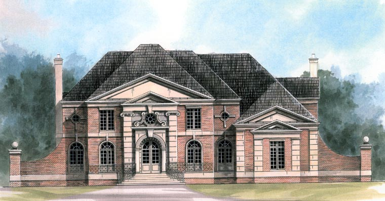 European, Greek Revival House Plan 72132 with 4 Beds, 4 Baths, 3 Car Garage Picture 1