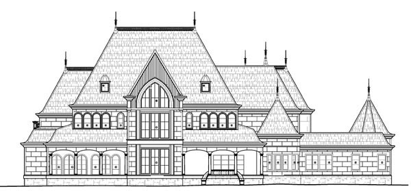 European House Plan 72133 with 6 Beds , 8 Baths , 4 Car Garage Rear Elevation