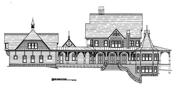 Traditional, House Plan 72135 with 4 Beds, 6 Baths, 3 Car Garage Rear Elevation