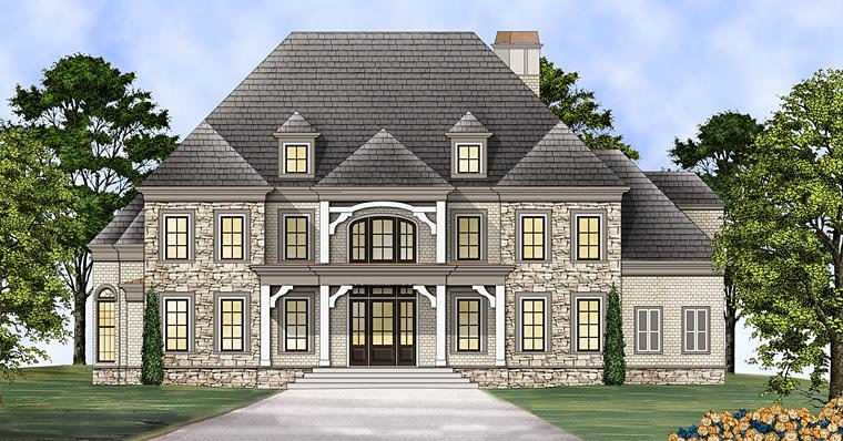 Greek Revival House Plan 72137 with 4 Beds , 6 Baths , 3 Car Garage Elevation