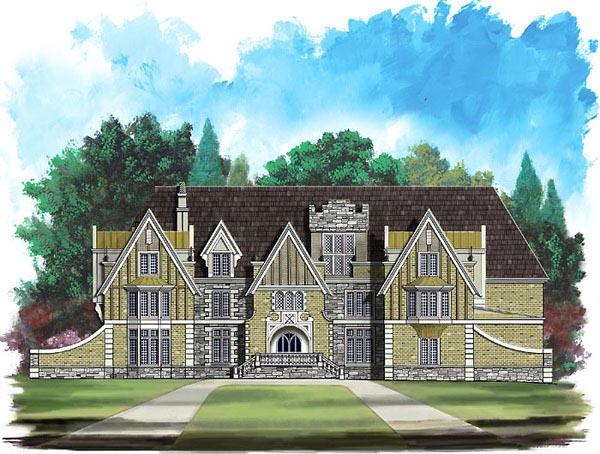 Greek Revival Tudor House Plan 72140 Elevation