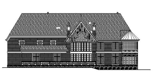 Greek Revival Tudor House Plan 72140 Rear Elevation