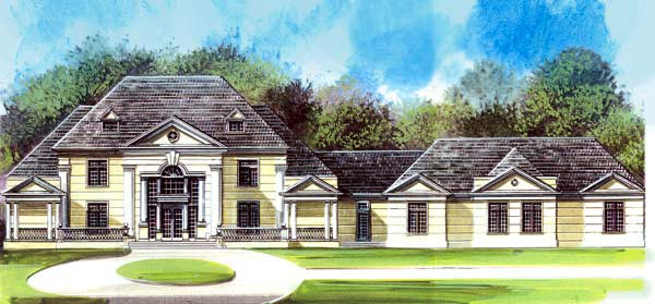 Colonial , Greek Revival House Plan 72144 with 4 Beds, 4 Baths, 5 Car Garage Elevation