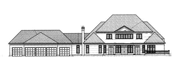 Colonial , Greek Revival House Plan 72144 with 4 Beds, 4 Baths, 5 Car Garage Rear Elevation