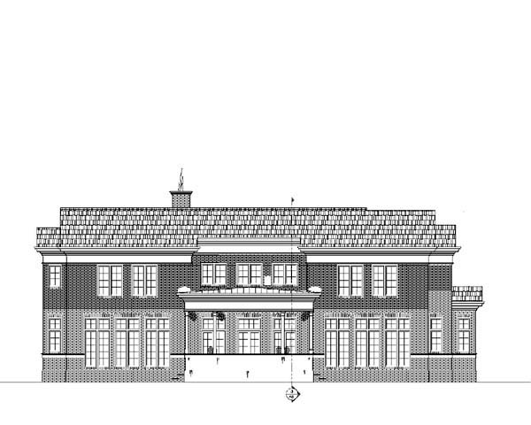 Colonial, Greek Revival House Plan 72147 with 4 Beds, 4 Baths, 3 Car Garage Rear Elevation