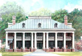 House Plan 72149 | Colonial Greek Revival Plantation Style Plan with 4969 Sq Ft, 3 Bedrooms, 4 Bathrooms, 4 Car Garage Elevation