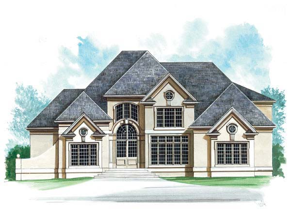 European, Greek Revival House Plan 72150 with 4 Beds, 6 Baths, 2 Car Garage Front Elevation