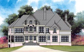 House Plan 72152 | European Greek Revival Style Plan with 4072 Sq Ft, 5 Bedrooms, 4 Bathrooms, 3 Car Garage Elevation