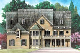 Greek Revival , Colonial House Plan 72157 with 5 Beds, 5 Baths, 3 Car Garage Elevation