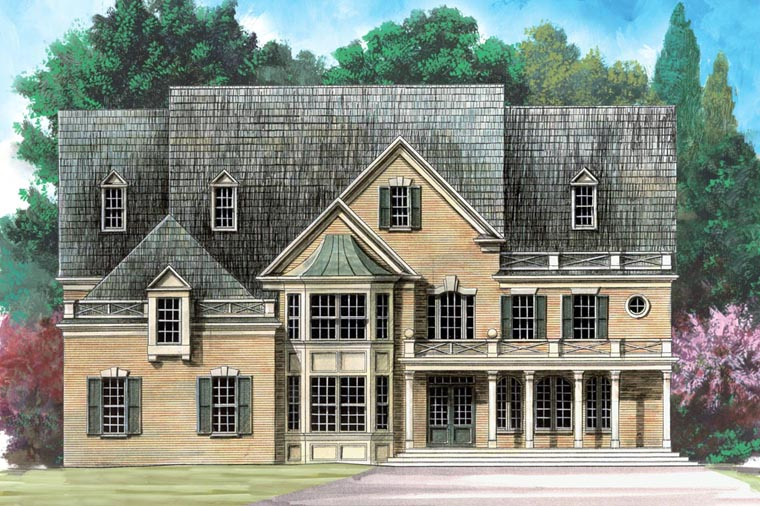 Colonial, Greek Revival House Plan 72157 with 5 Beds, 5 Baths, 3 Car Garage Elevation