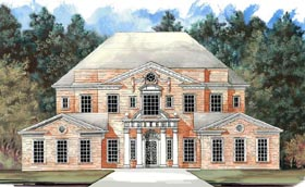 Colonial Greek Revival Plantation House Plan 72158 Elevation