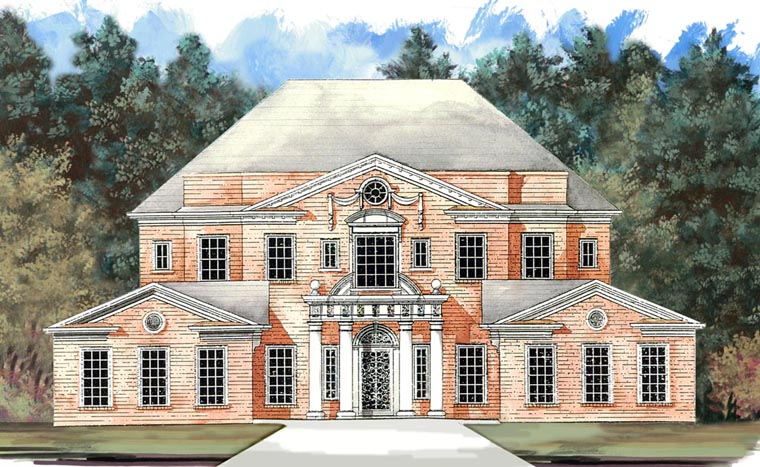 Colonial Greek Revival Plantation House Plan 72158 Elevation