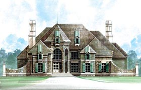 Greek Revival House Plan 72161 with 4 Beds, 5 Baths, 3 Car Garage Elevation
