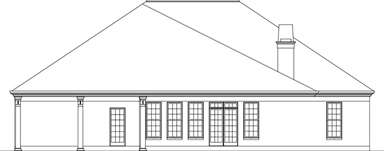 European House Plan 72162 Rear Elevation